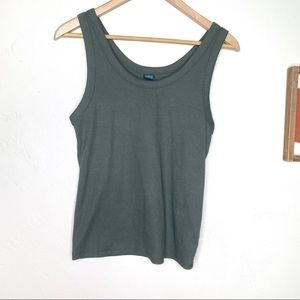 Wild Fable olive green ribbed tank top size large